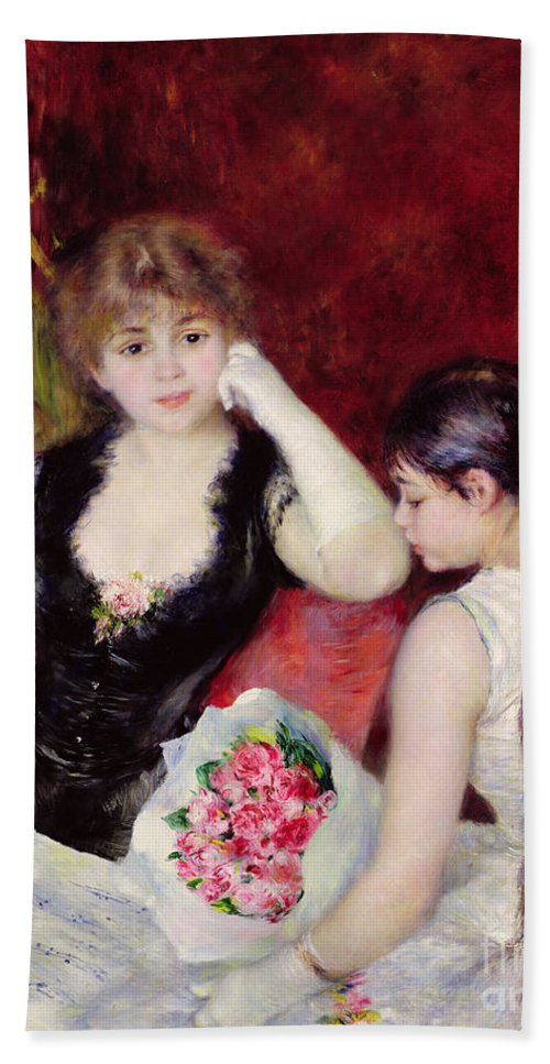 Female; Seated; Audience; Mother And Daughter; Elegant; Fashionable; Bouquet Of Flowers; Bunch; Box; Thoughtful; Pensive; Impressionist Hand Towel featuring the painting At The Concert by Pierre Auguste Renoir