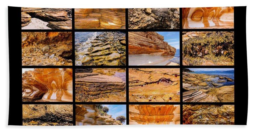 ' Australia Rocks ' Series By Lexa Harpell Bath Sheet featuring the photograph ' Australia Rocks ' - Maria Island - Tasmania by Lexa Harpell