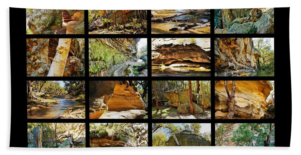 ' Australia Rocks ' Series By Lexa Harpell Bath Sheet featuring the photograph ' Australia Rocks ' - The Dripping Gorge - New South Wales by Lexa Harpell