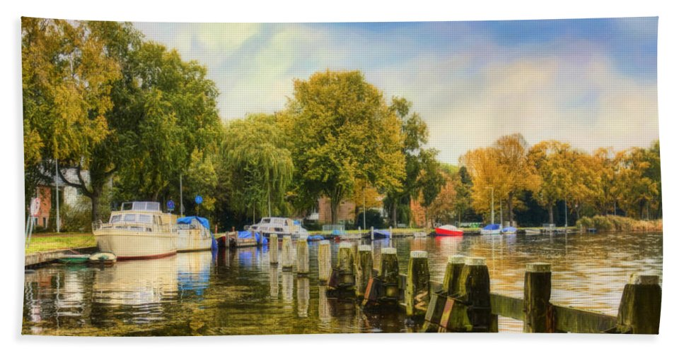 Mooring Hand Towel featuring the painting Autumn Day by Nadia Sanowar