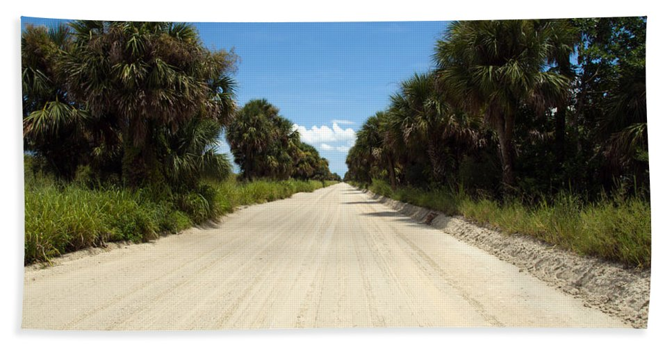Florida; Road; Back; Backroad; Central; Dirt; Plow; Plowed; Clay; Mud; Muddy; Places; Unknown; Trave Hand Towel featuring the photograph Back Road In Central Florida. by Allan Hughes