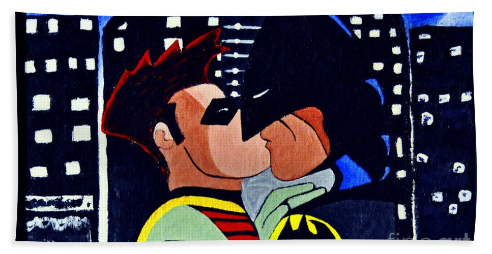 Batman Hand Towel featuring the painting Batman And Robin by Davids Digits