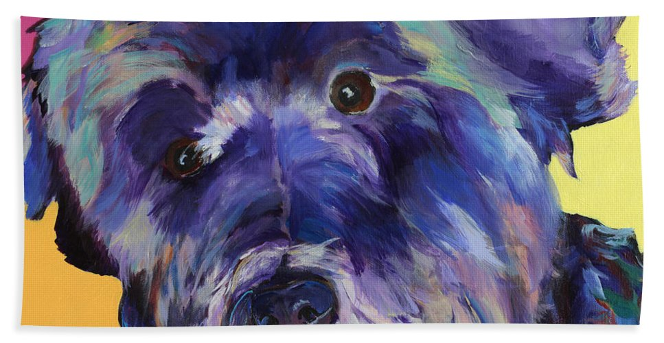 Schnauzer Acrylic Painting Hand Towel featuring the painting Beau by Pat Saunders-White