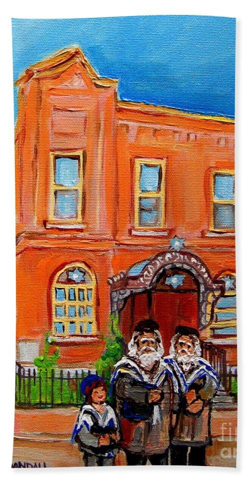 Beautiful Synagogue On Bagg Street Hand Towel featuring the painting Beautiful Synagogue On Bagg Street by Carole Spandau