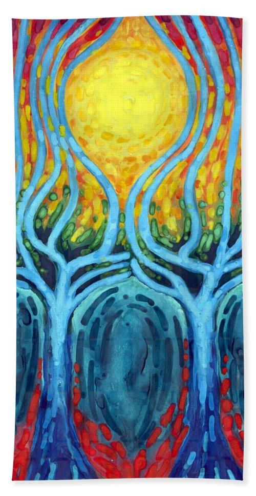 Colour Hand Towel featuring the painting Births Of Day by Wojtek Kowalski