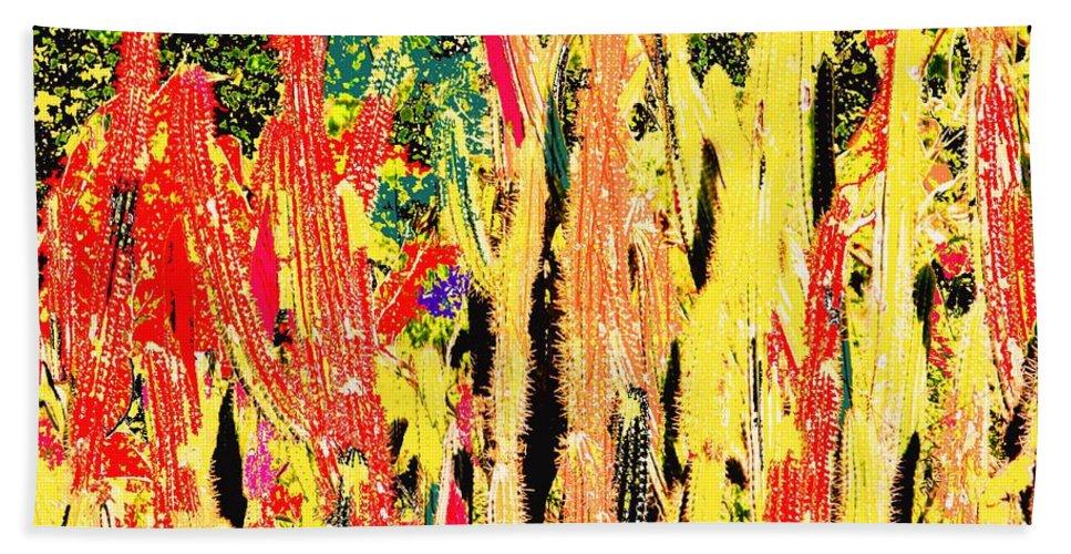 Cactus Hand Towel featuring the digital art Bridgestone Cacti by Ian MacDonald