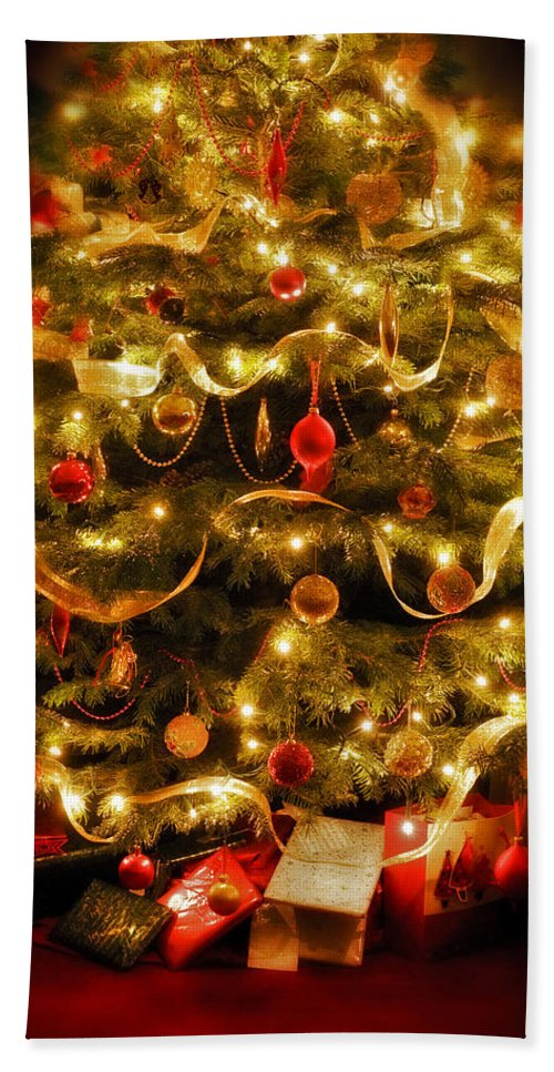Victorian Christmas Tree Xmas Baubles Gifts Presents Decorations Ribbon Pine Needles Fairy Lights Bath Sheet featuring the photograph Christmas Tree by Mal Bray