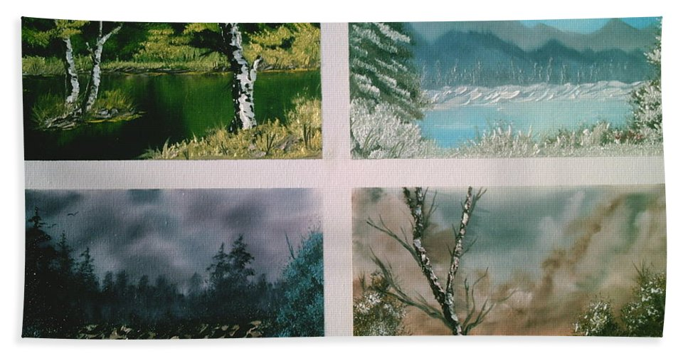 Landscapes Bath Sheet featuring the painting Colors Of Landscape by Jim Saltis