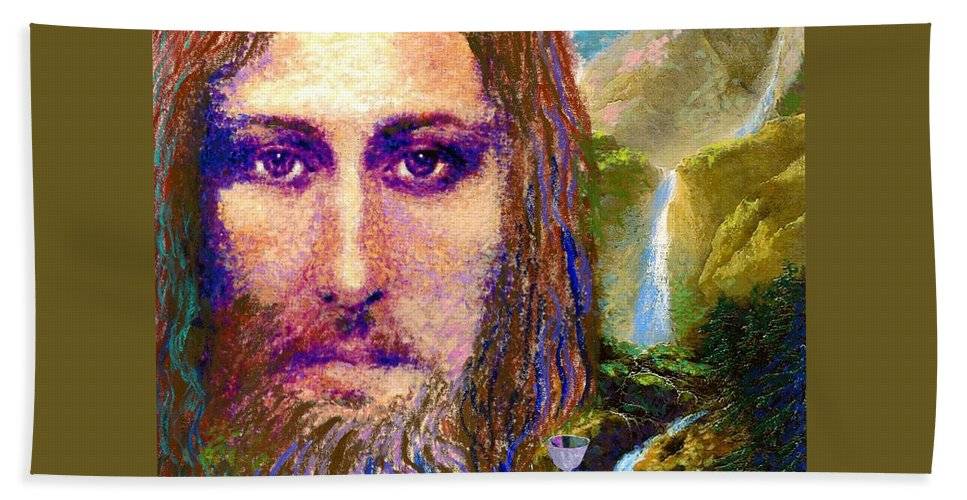 Love Bath Towel featuring the painting Contemporary Jesus Painting, Chalice Of Life by Jane Small