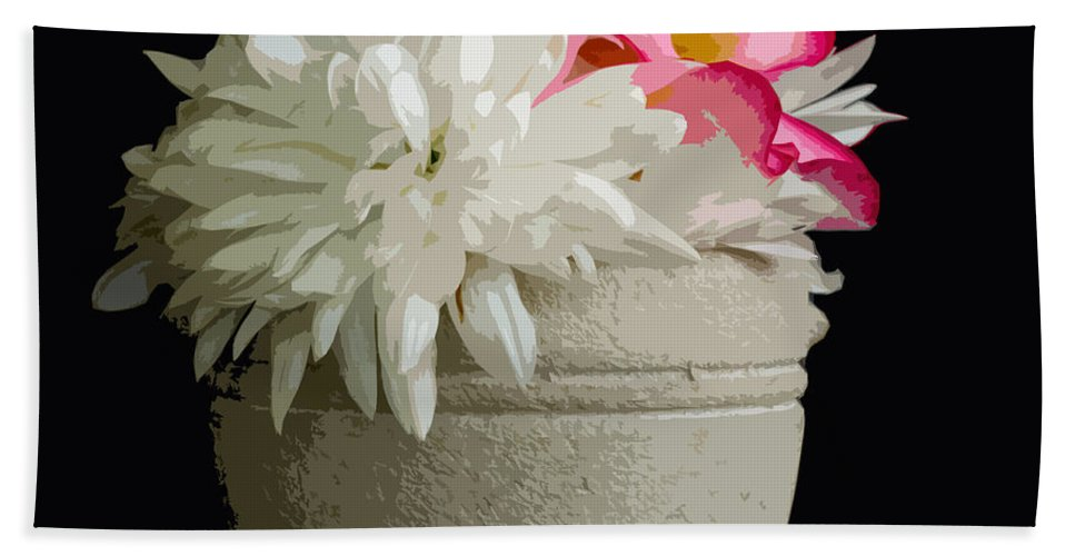 Snowball Hand Towel featuring the painting Desert Rose  Chrysanthemum And Adenium Obesum by Allan Hughes