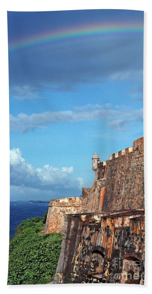 Puerto Rico Hand Towel featuring the photograph El Morro Fortress Rainbow by Thomas R Fletcher