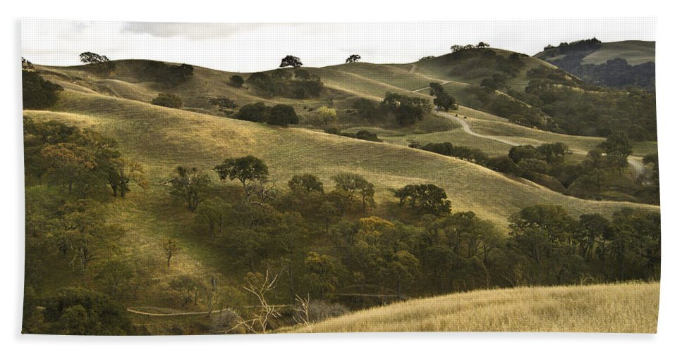 Landscape Bath Towel featuring the photograph First Hill In Fall by Karen W Meyer