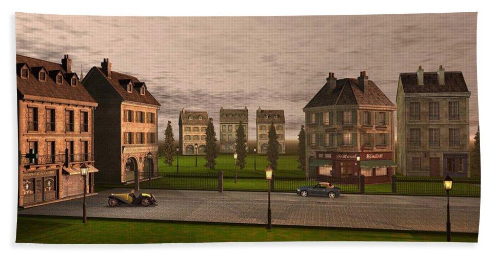 Cityscape Bath Sheet featuring the digital art French City Landscrape by John Junek