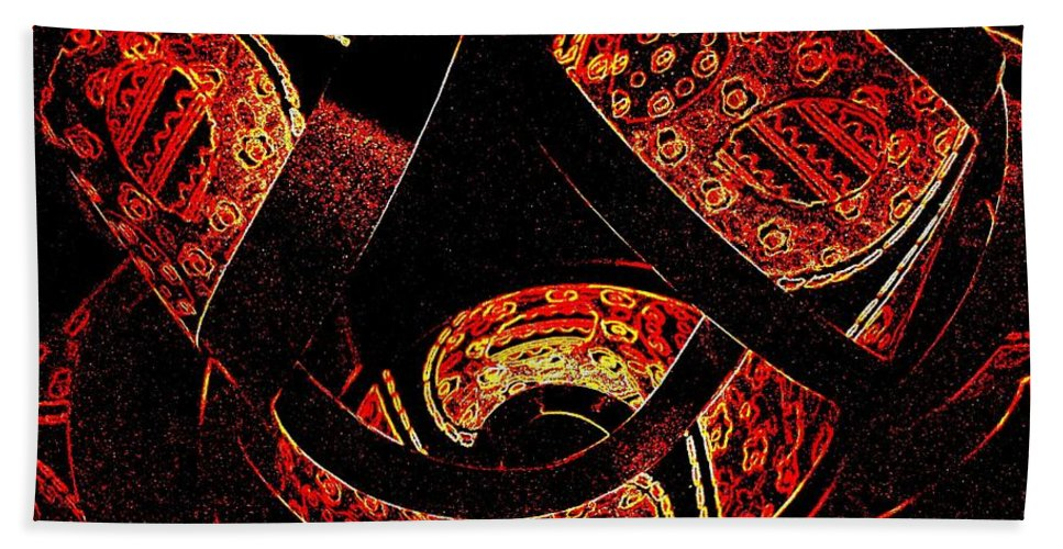 Abstract Hand Towel featuring the digital art Galactic Flow by Will Borden