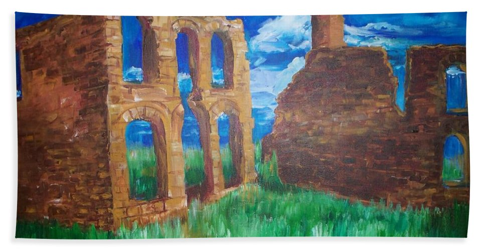 Western_landscapes Bath Sheet featuring the painting Ghost Town by Eric Schiabor