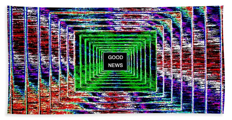 Good News Hand Towel featuring the digital art Good News by Will Borden