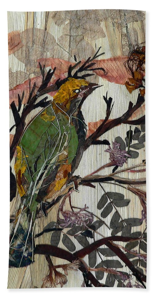 Green Bird Hand Towel featuring the mixed media Green-yellow Bird by Basant Soni