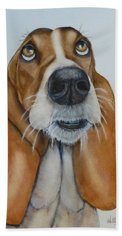 Bassett Hound Hand Towel featuring the painting Hound Dog Eyes by Kelly Mills