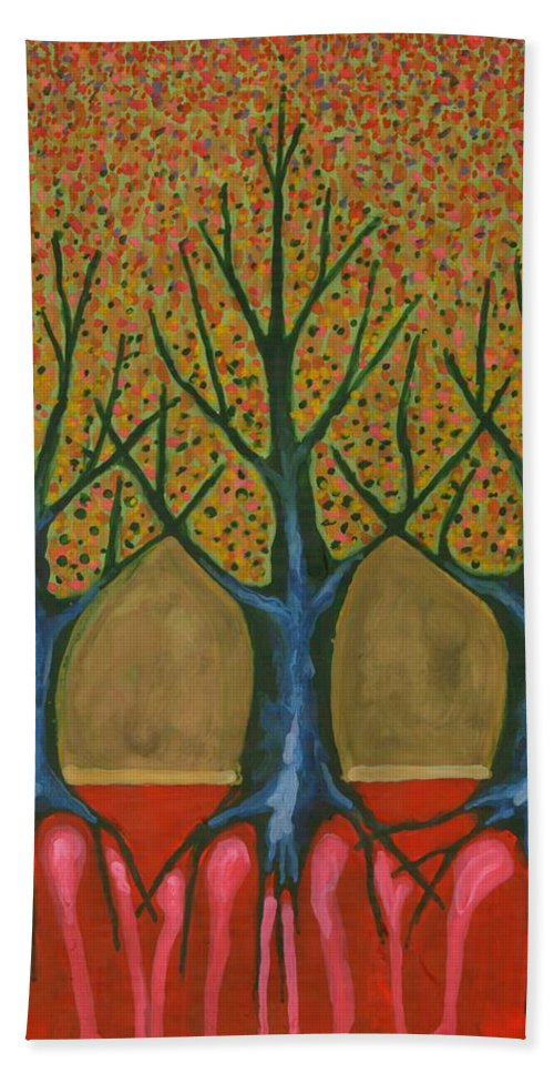 Colour Hand Towel featuring the painting I Be Please With Life by Wojtek Kowalski