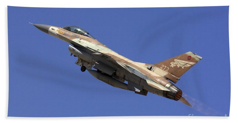 Aircraft Bath Towel featuring the photograph Iaf F-16a Fighter Jet On Blue Sky by Nir Ben-Yosef