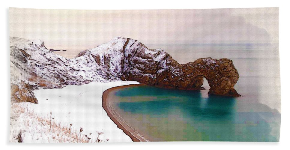 Poster Bath Sheet featuring the digital art Illustration Of The Durdle Door In Snow by Don Kuing