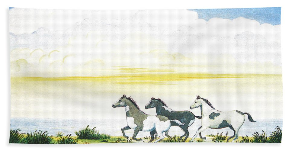 Chincoteague Hand Towel featuring the painting Indian Ponies by Jerome Stumphauzer
