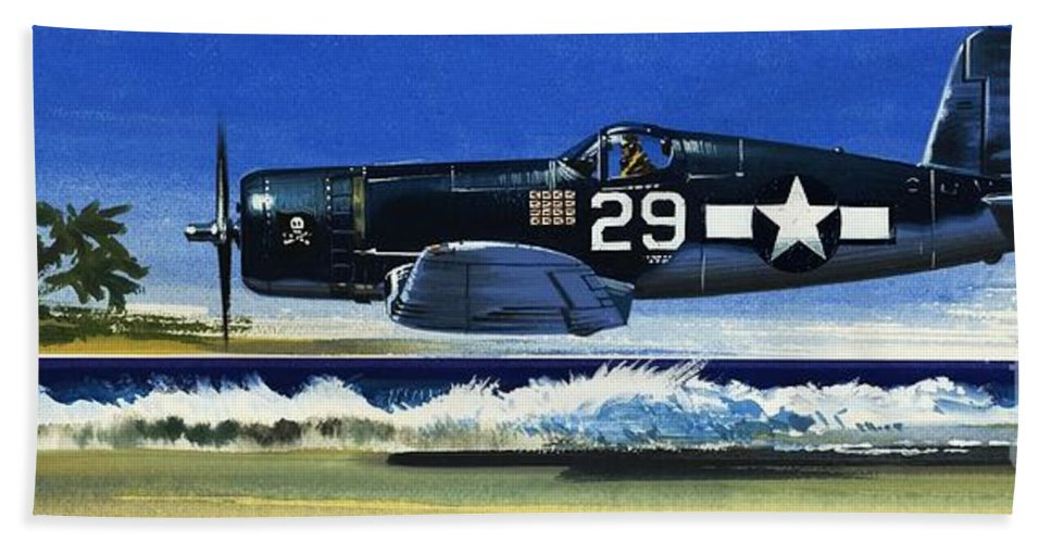 Aircraft; Aeroplane; Plane; Flying; Chance Vought F4u-1a Corsair Bath Sheet featuring the painting Into The Blue American War Planes by Wilf Hardy