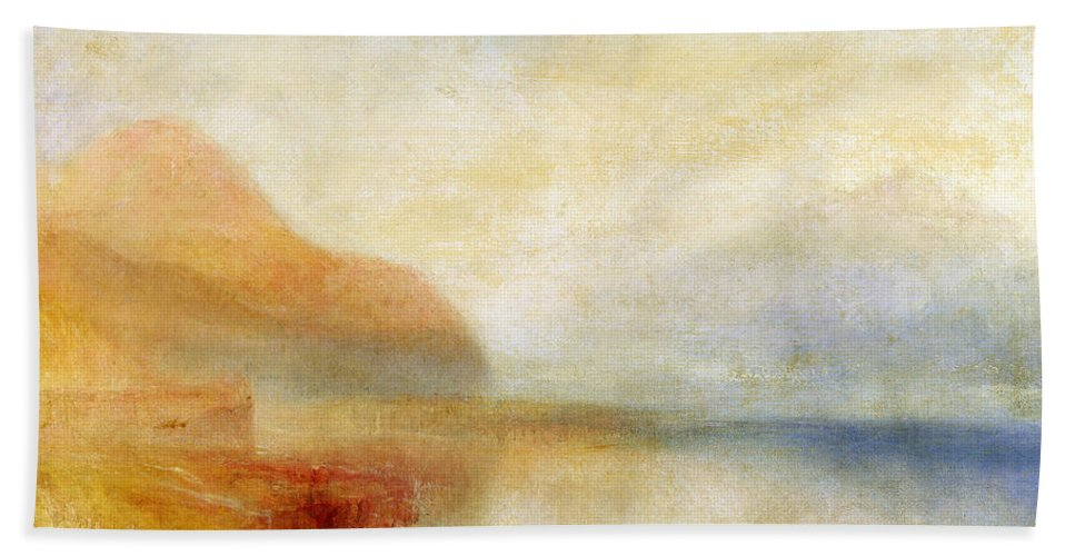 Inverary Hand Towel featuring the painting Inverary Pier - Loch Fyne - Morning by Joseph Mallord William Turner
