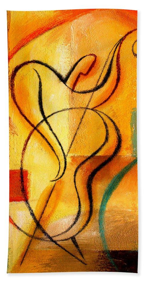 West Coast Jazz Bath Towel featuring the painting Jazz Fusion by Leon Zernitsky
