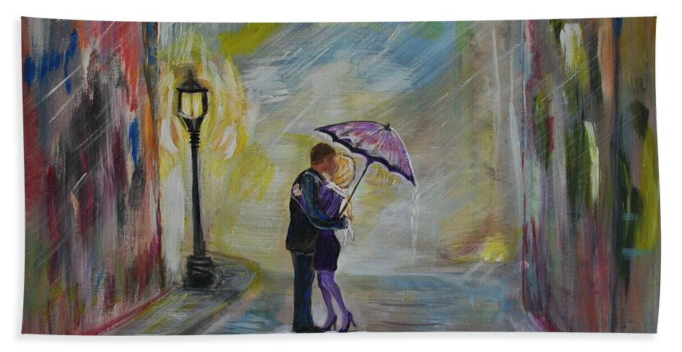 Couple Painting Bath Sheet featuring the painting Kiss Me Taxi Is Here by Leslie Allen