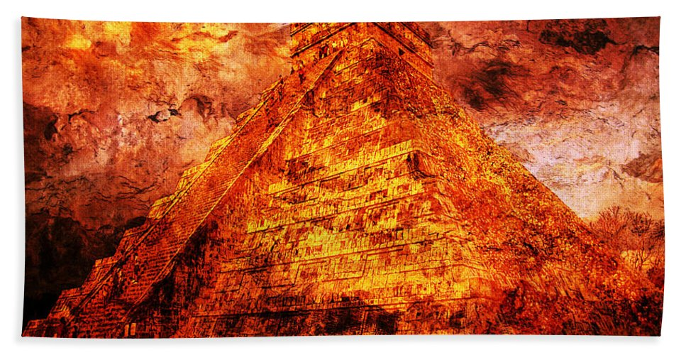 Mayan Digital Art Bath Towel featuring the digital art C H I C H E N . I T Z A . Pyramid by J - O  N  E
