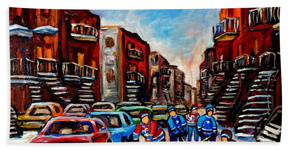 Montreal Bath Towel featuring the painting Late Afternoon Street Hockey by Carole Spandau