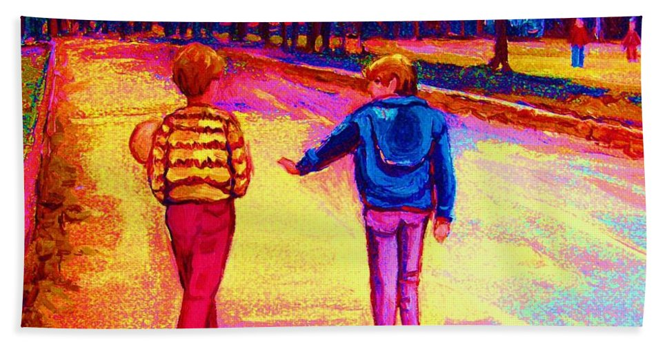 Children Hand Towel featuring the painting Lets Play Ball At Beaverlake Park by Carole Spandau