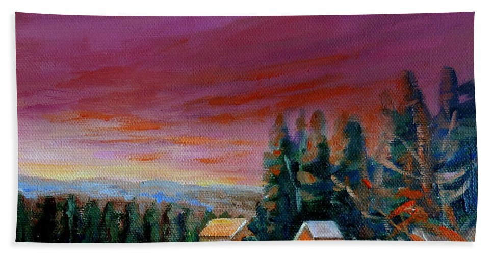 Lovely Sweeping Skies Bath Towel featuring the painting Lovely Sweeping Skies by Carole Spandau