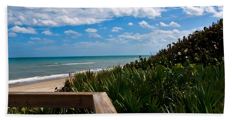 Beach; February; Florida; Warm; Warmth; Temperature; Degrees; Weather; Sun; Melbourne; Sand; Shore; Hand Towel featuring the photograph Melbourne Beach On The East Coast Of Florida by Allan Hughes
