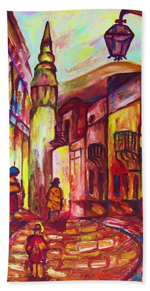 Paris Hand Towel featuring the painting Montmartre by Carole Spandau