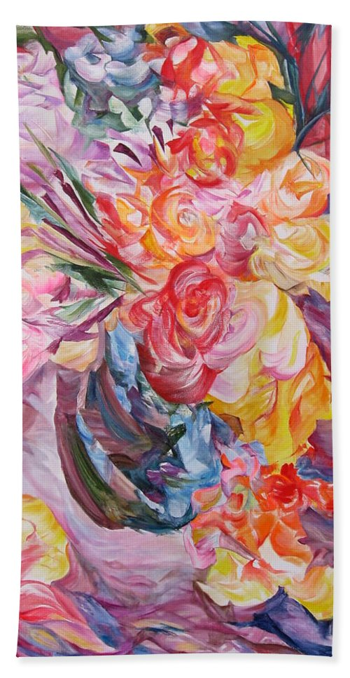 Abstract Hand Towel featuring the painting My Bouquet by Maya Bukhina