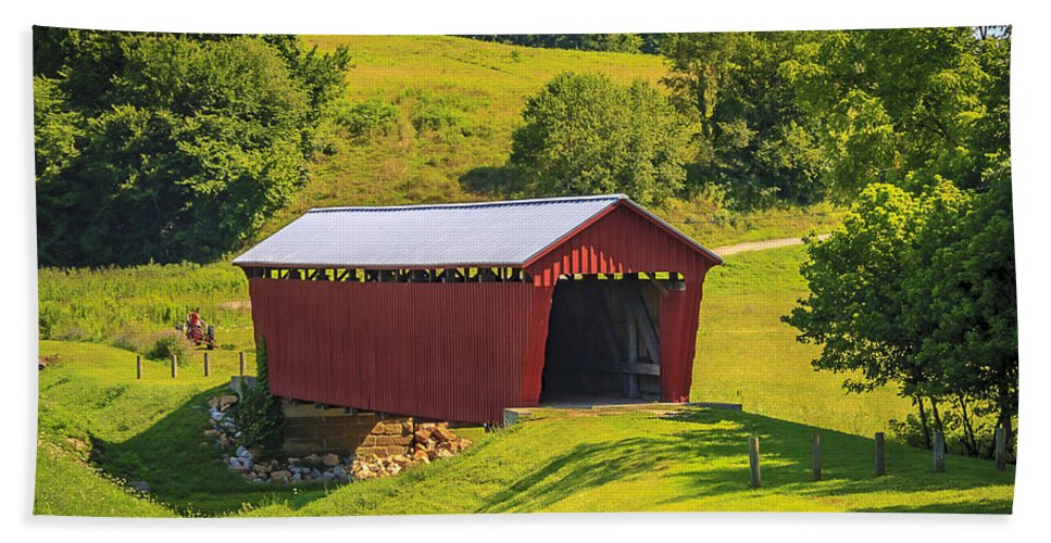 America Hand Towel featuring the photograph Parrish Covered Bridge by Jack R Perry