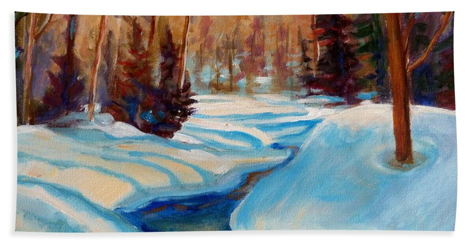 Peaceful Winding Stream Bath Towel featuring the painting Peaceful Winding Stream by Carole Spandau