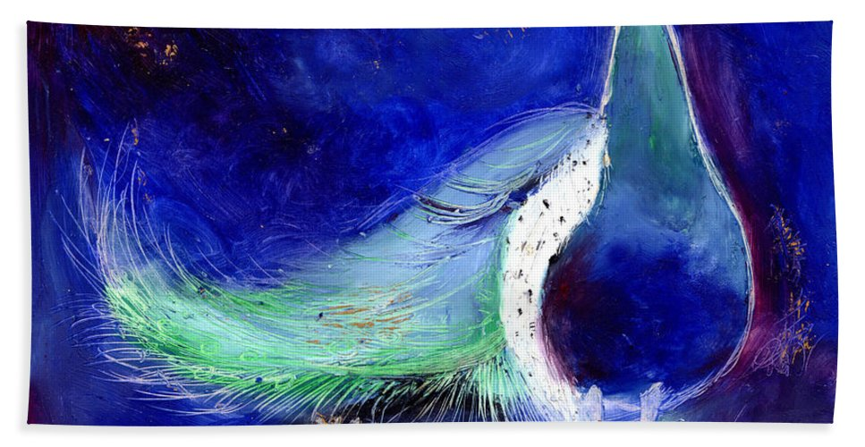 Star Bath Sheet featuring the painting Peacock Blue by Nancy Moniz