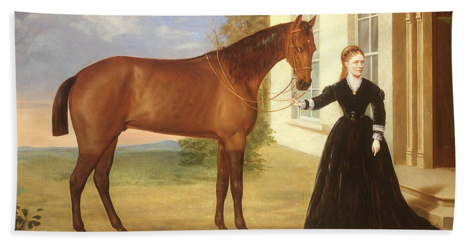 Portrait Bath Sheet featuring the painting Portrait Of A Lady With Her Horse by English School