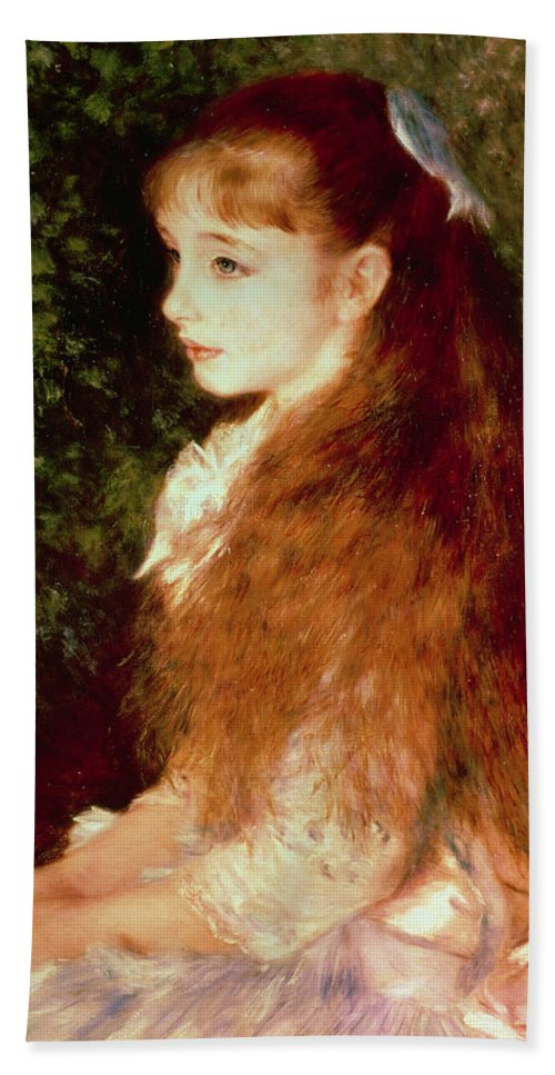 Impressionist; Girl; Young; Sister; Anvers Bath Towel featuring the painting Portrait Of Mademoiselle Irene Cahen D'anvers by Pierre Auguste Renoir