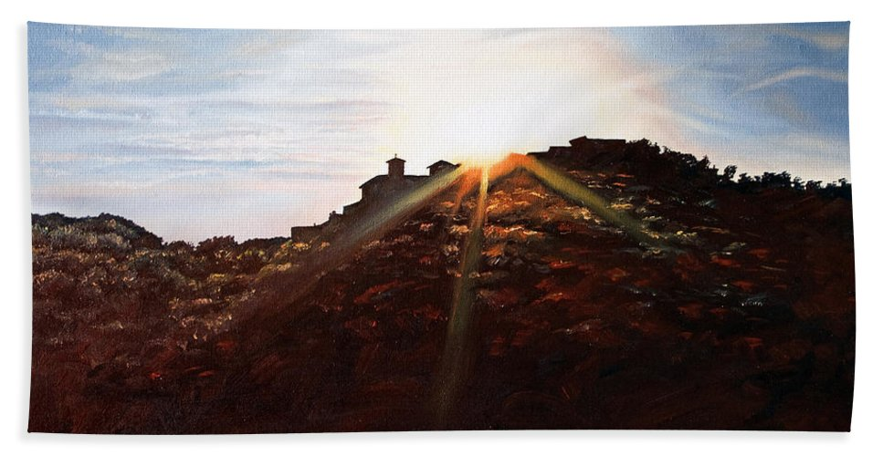 Landscapes Hand Towel featuring the painting Silhouetted Mountain by Michel Angelo Rossi