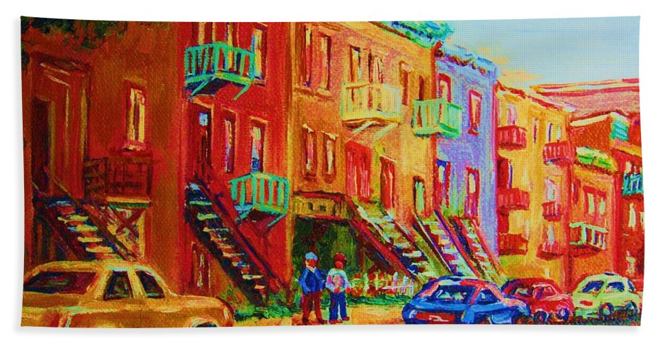 Painted Houses Bath Towel featuring the painting Summer In The City by Carole Spandau