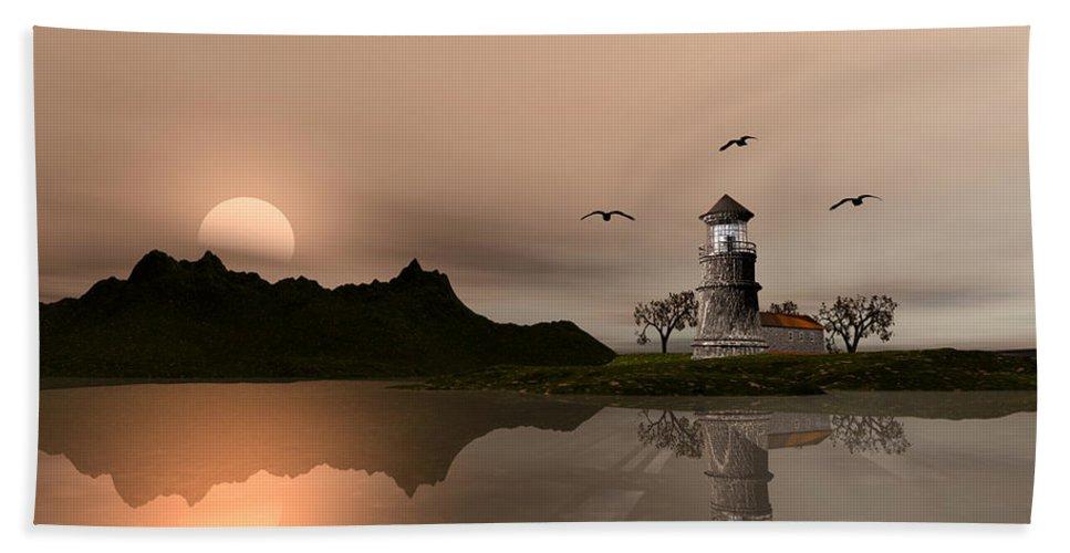 Lighthouse Hand Towel featuring the digital art Sunset Ocean Scene by John Junek