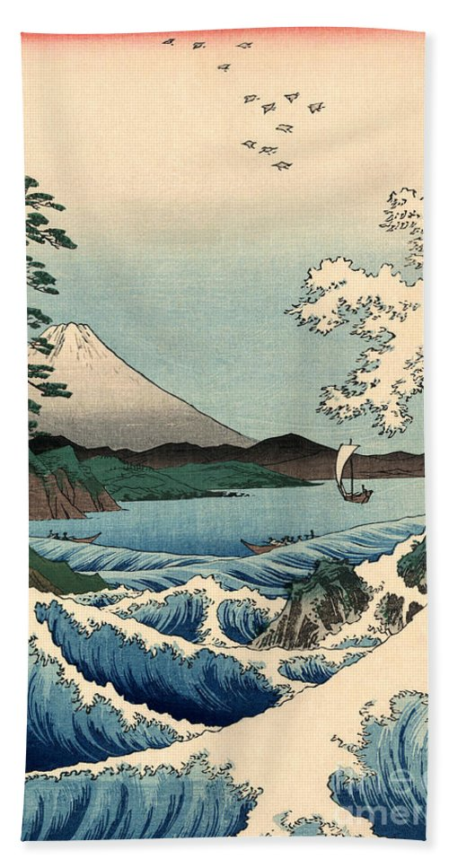 Suruga Hand Towel featuring the painting Suruga Satta No Kaijo - Sea At Satta In Suruga Province by Utagawa Hiroshige