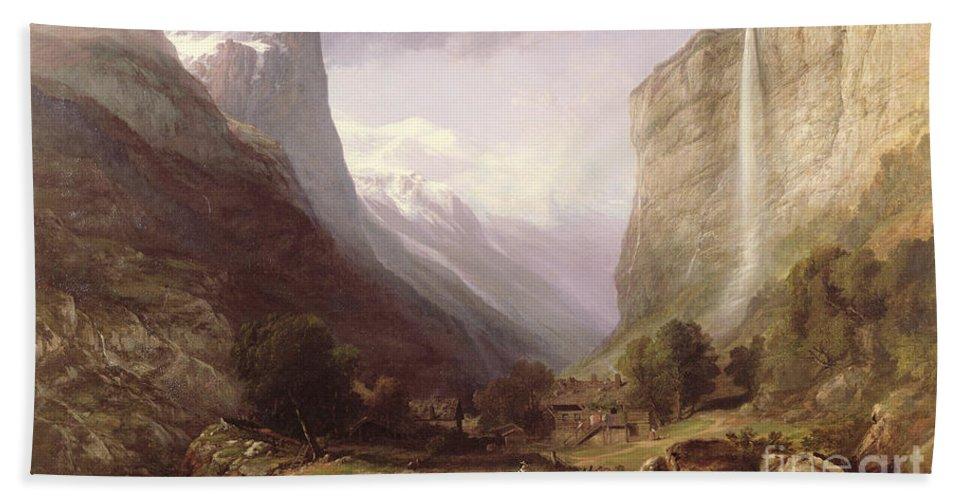 Swiss Bath Sheet featuring the painting Swiss Scene by Samuel Jackson