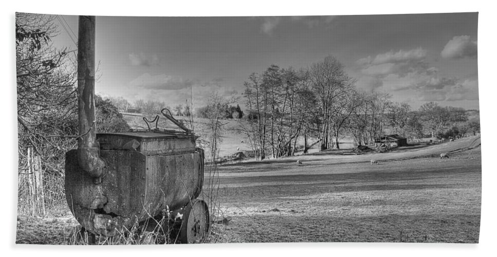 Tar Boiler Bath Sheet featuring the photograph Tar Boiler by Dave Godden
