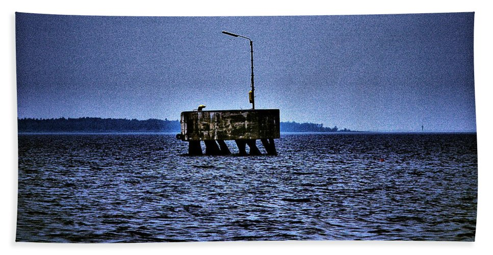Lehtokukka Hand Towel featuring the photograph The Dock Of Loneliness by Jouko Lehto