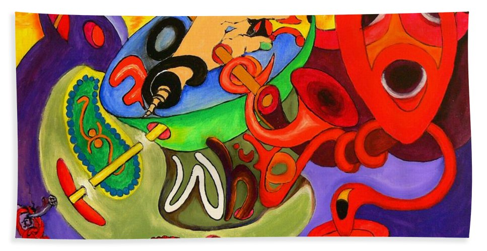 Time Bath Sheet featuring the painting Time Constraints by Helmut Rottler